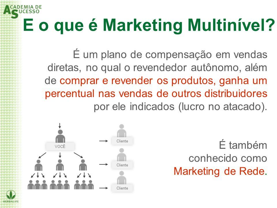 Cliente VOCÊ E o que é Marketing Multinível? É um plano de compensação em vendas diretas, no qual o revendedor autônomo, além de comprar e revender os