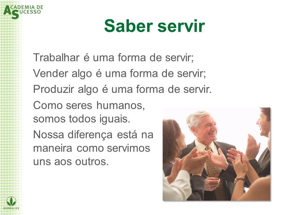 Saber servir Como seres humanos, somos todos iguais. Nossa diferença está na maneira como servimos uns aos outros. Trabalhar é uma forma de servir; Ve