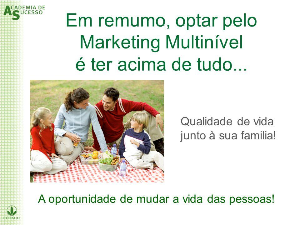 Em remumo, optar pelo Marketing Multinível é ter acima de tudo... Qualidade de vida junto à sua familia! A oportunidade de mudar a vida das pessoas!