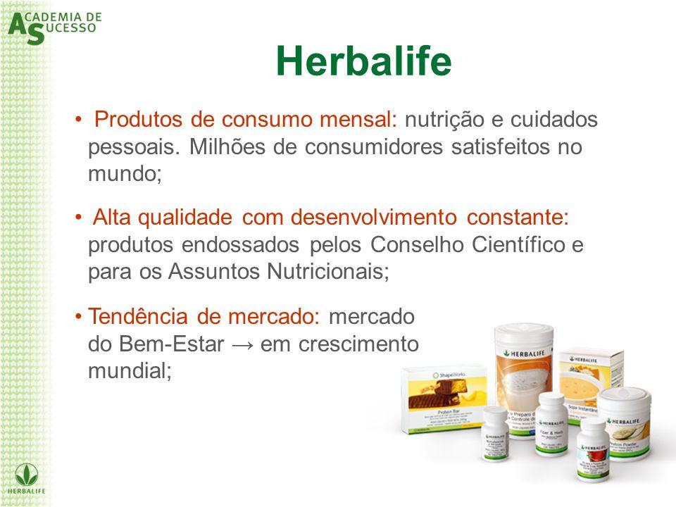 Herbalife Produtos de consumo mensal: nutrição e cuidados pessoais. Milhões de consumidores satisfeitos no mundo; Alta qualidade com desenvolvimento c