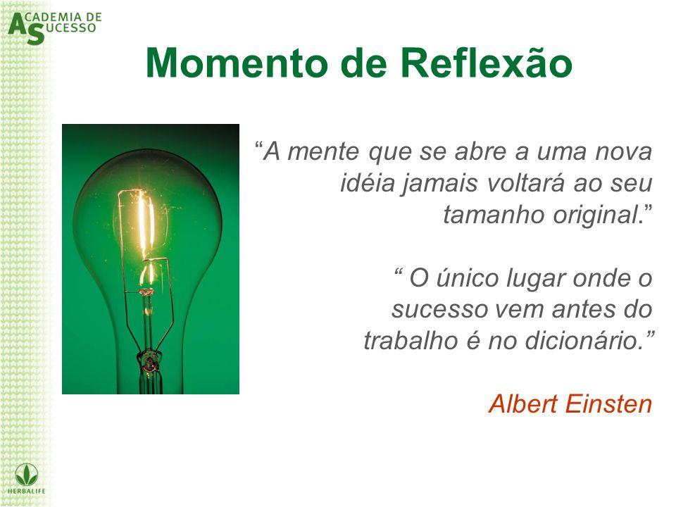Momento de Reflexão A mente que se abre a uma nova idéia jamais voltará ao seu tamanho original. O único lugar onde o sucesso vem antes do trabalho é