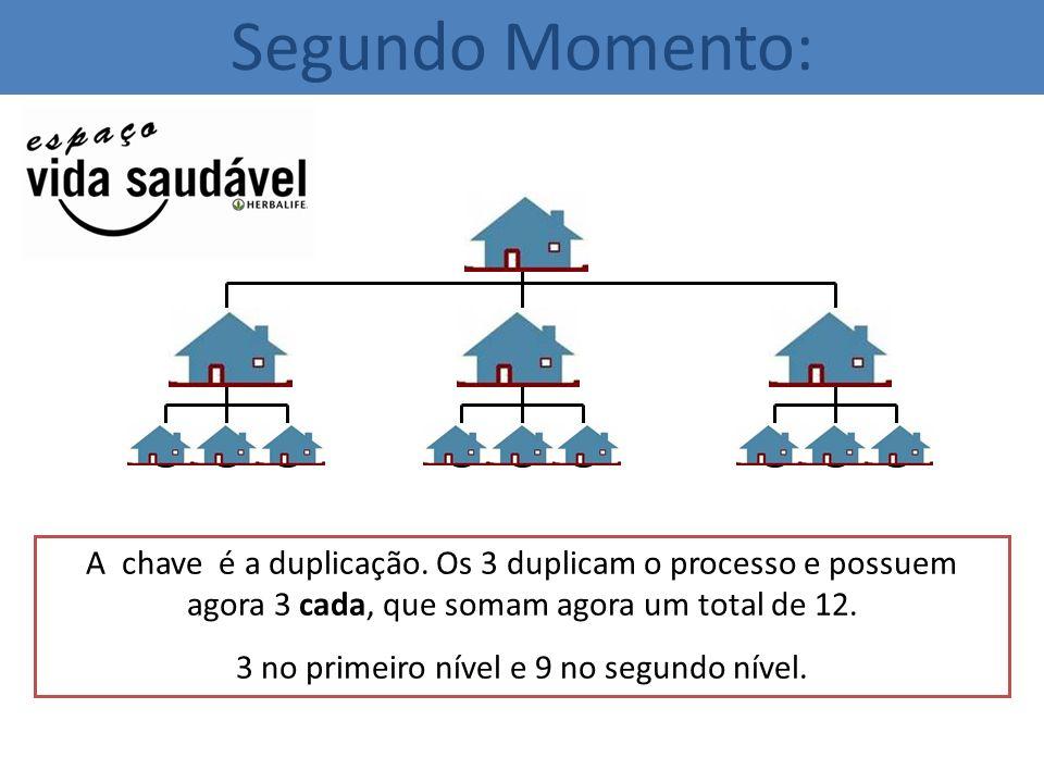 A chave é a duplicação. Os 3 duplicam o processo e possuem agora 3 cada, que somam agora um total de 12. 3 no primeiro nível e 9 no segundo nível. Seg