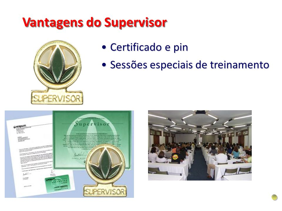 Certificado e pinCertificado e pin Sessões especiais de treinamentoSessões especiais de treinamento Vantagens do Supervisor