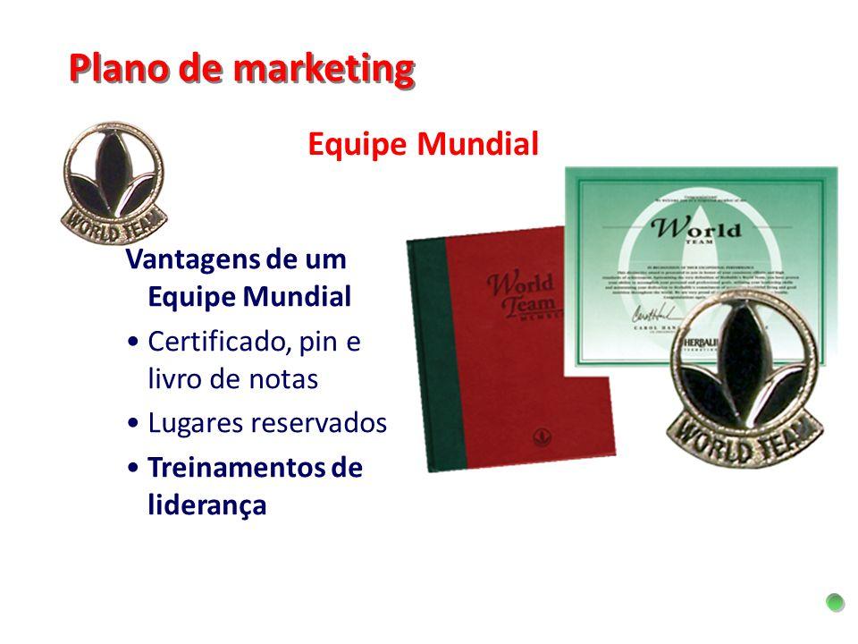 Equipe Mundial Plano de marketing Vantagens de um Equipe Mundial Certificado, pin e livro de notas Lugares reservados Treinamentos de liderança