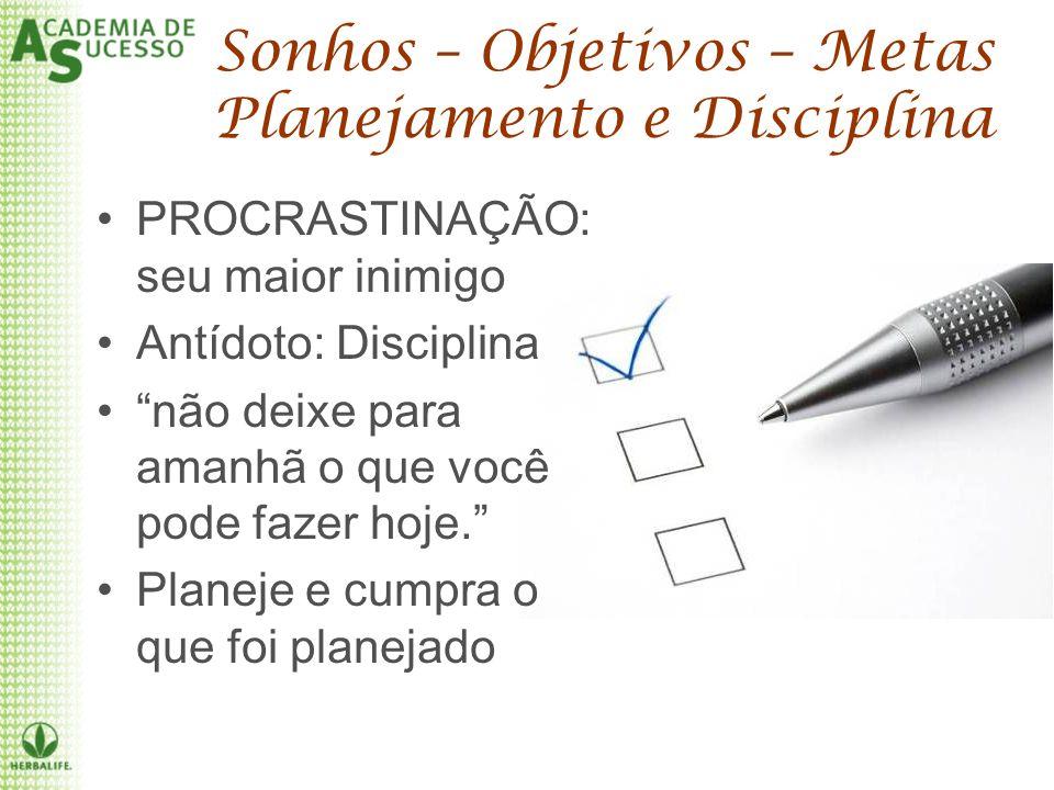 Sonhos – Objetivos – Metas Planejamento e Disciplina PROCRASTINAÇÃO: seu maior inimigo Antídoto: Disciplina não deixe para amanhã o que você pode faze