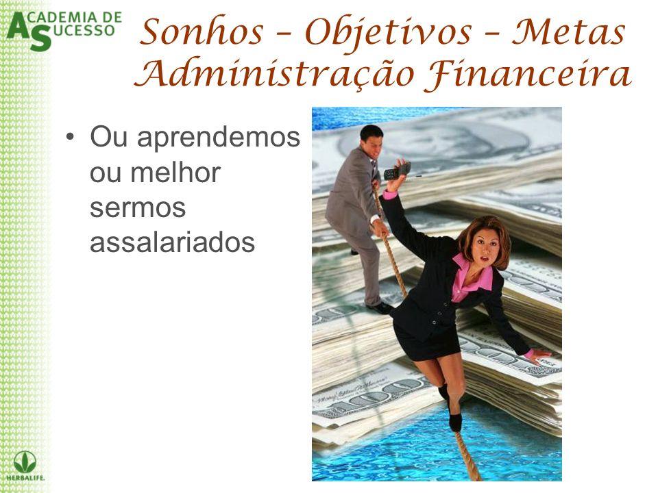 Sonhos – Objetivos – Metas Administração Financeira Ou aprendemos ou melhor sermos assalariados