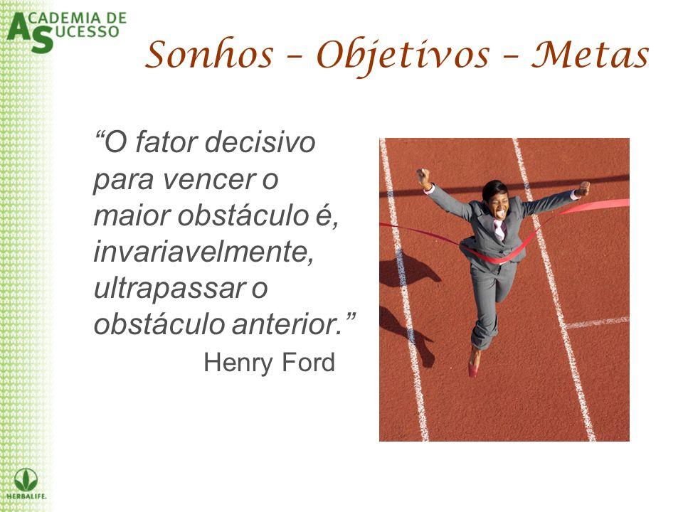 O fator decisivo para vencer o maior obstáculo é, invariavelmente, ultrapassar o obstáculo anterior. Henry Ford