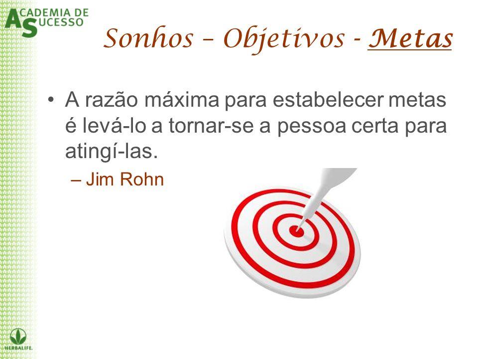 A razão máxima para estabelecer metas é levá-lo a tornar-se a pessoa certa para atingí-las. –Jim Rohn