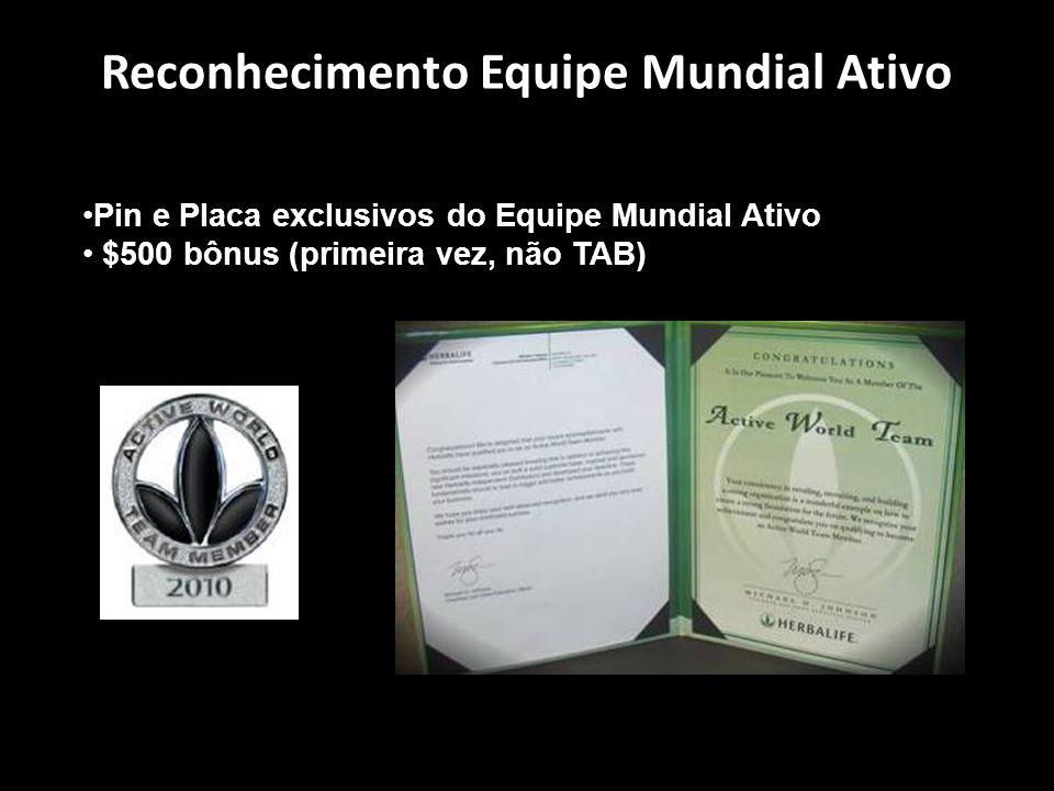 Reconhecimento Equipe Mundial Ativo Pin e Placa exclusivos do Equipe Mundial Ativo $500 bônus (primeira vez, não TAB)