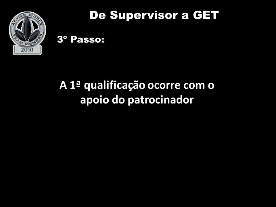 A 1ª qualificação ocorre com o apoio do patrocinador De Supervisor a GET Team De Supervisor a GET 3º Passo: