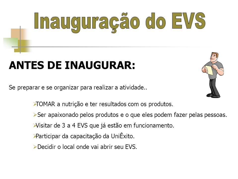 COMPROMISSO DO ANFITRIÃO DO EVS O anfitrião (COM AJUDA DO SEU SUPERVISOR) deverá se comprometer a ter pelo menos 20 convidados para poder inaugurar seu EVS.