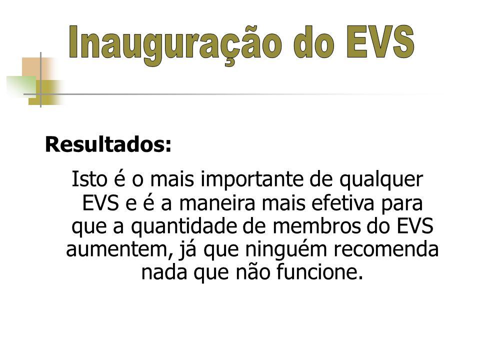 Resultados: Isto é o mais importante de qualquer EVS e é a maneira mais efetiva para que a quantidade de membros do EVS aumentem, já que ninguém recom