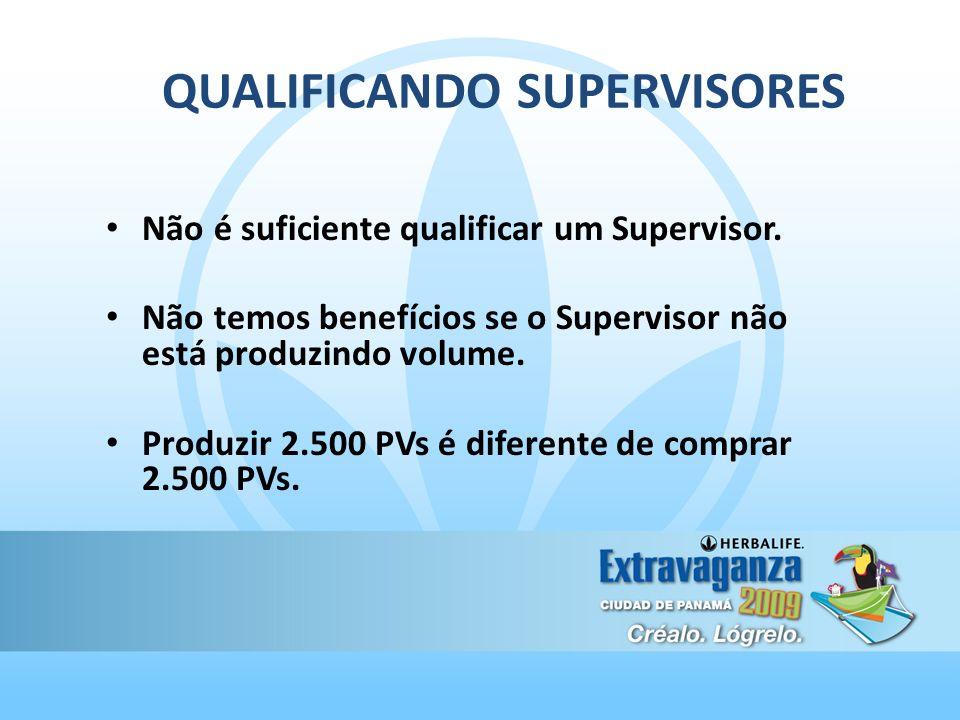 QUALIFICANDO SUPERVISORES Não é suficiente qualificar um Supervisor. Não temos benefícios se o Supervisor não está produzindo volume. Produzir 2.500 P