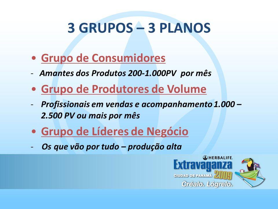 3 GRUPOS – 3 PLANOS Grupo de Consumidores - Amantes dos Produtos 200-1.000PV por mês Grupo de Produtores de Volume -Profissionais em vendas e acompanh