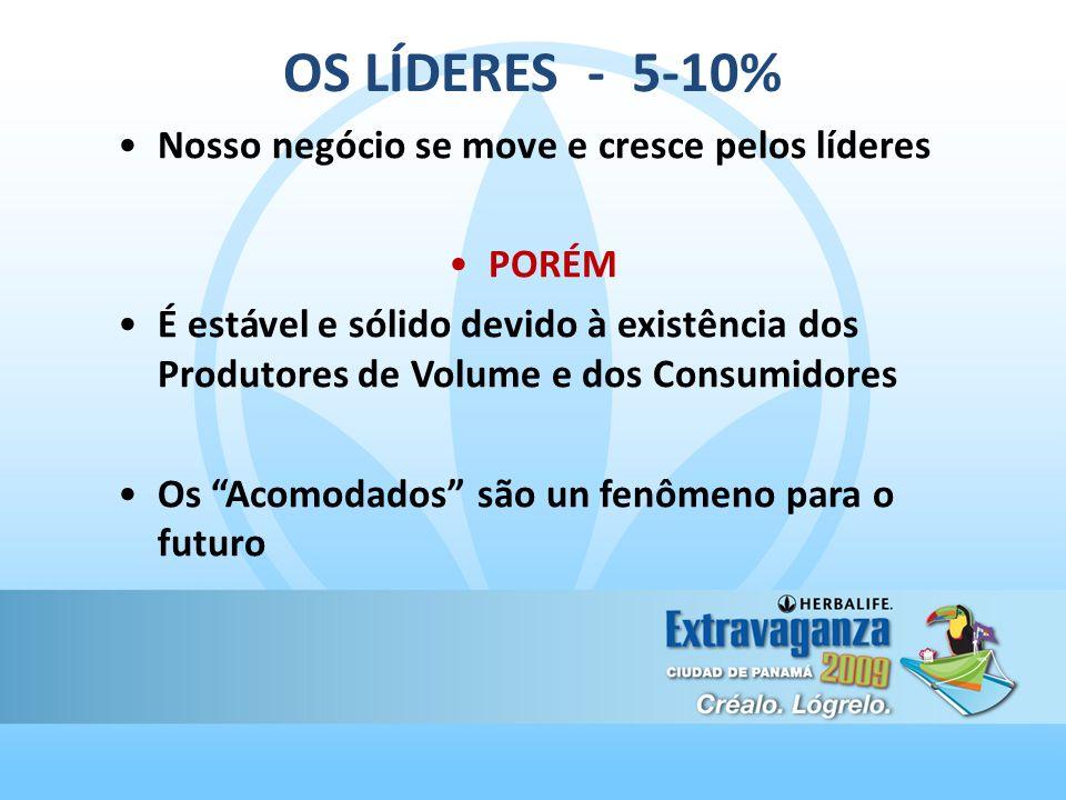 OS LÍDERES - 5-10% Nosso negócio se move e cresce pelos líderes PORÉM É estável e sólido devido à existência dos Produtores de Volume e dos Consumidor
