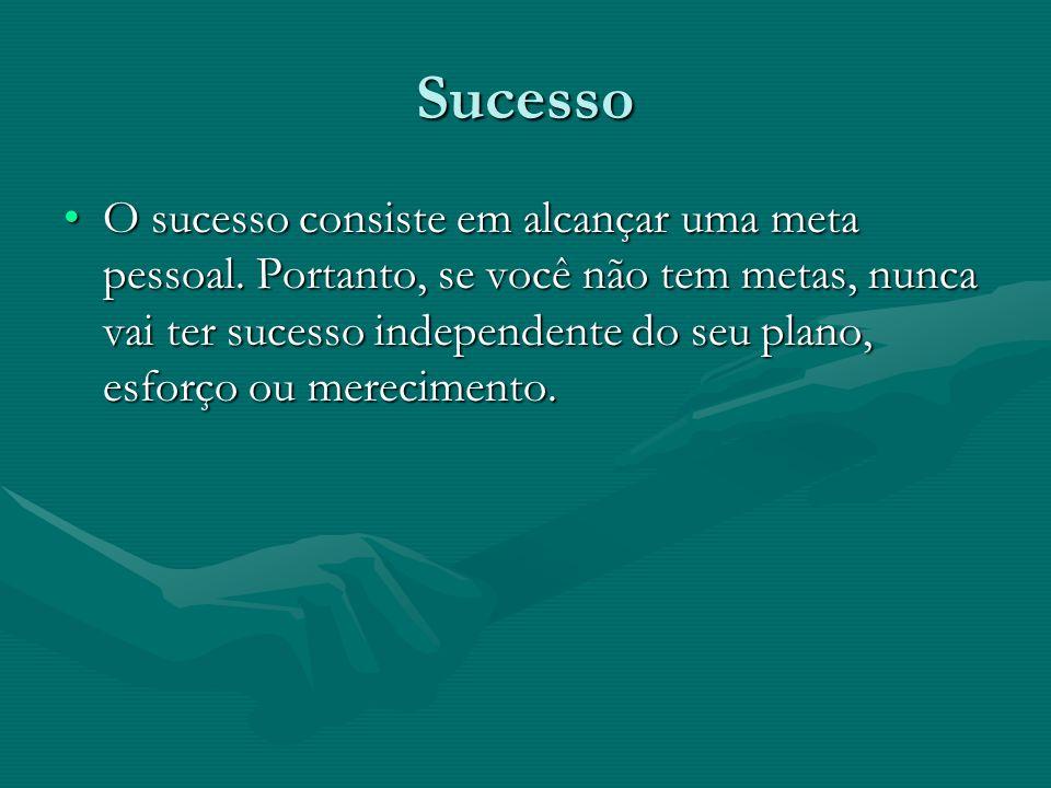 Sucesso O sucesso consiste em alcançar uma meta pessoal.
