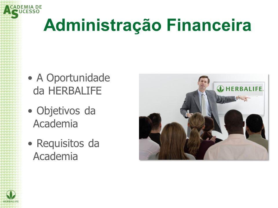 A Oportunidade da HERBALIFE Objetivos da Academia Requisitos da Academia Administração Financeira