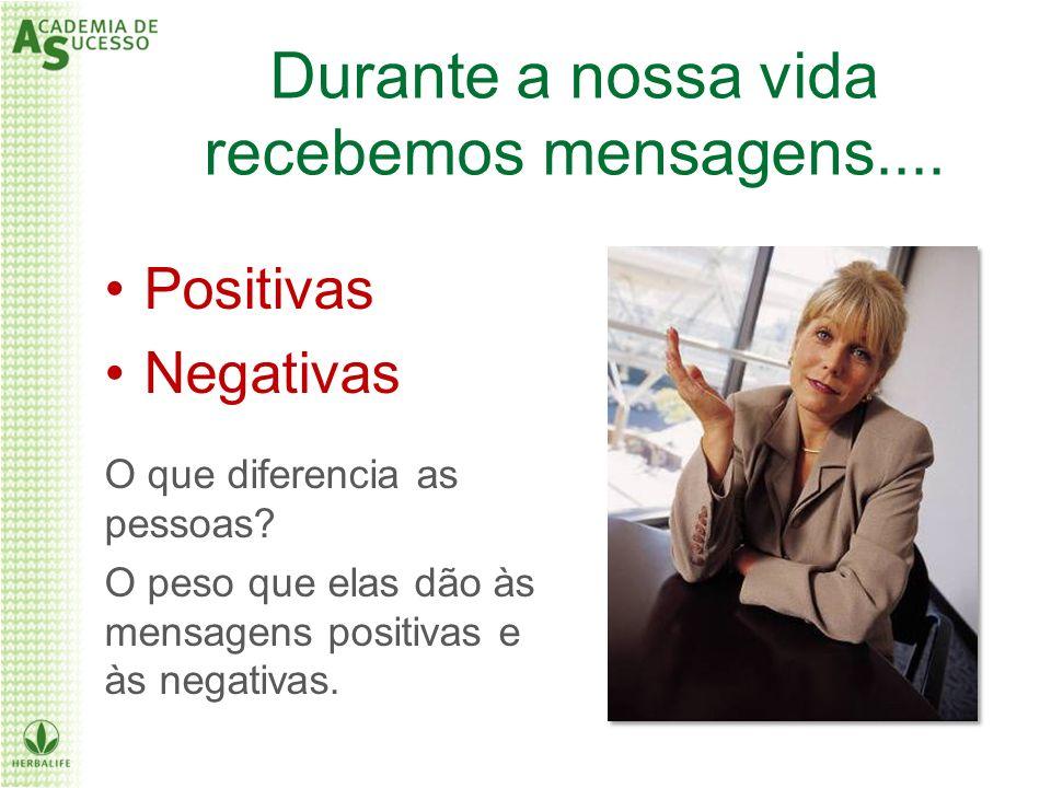 Positivas Negativas O que diferencia as pessoas? O peso que elas dão às mensagens positivas e às negativas. Durante a nossa vida recebemos mensagens..
