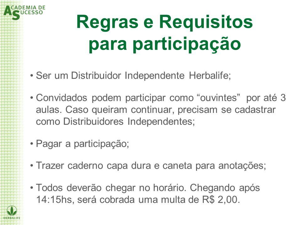 Ser um Distribuidor Independente Herbalife; Convidados podem participar como ouvintes por até 3 aulas. Caso queiram continuar, precisam se cadastrar c