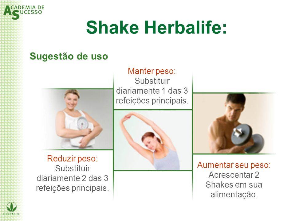 Sugestão de uso Reduzir peso: Substituir diariamente 2 das 3 refeições principais. Manter peso: Substituir diariamente 1 das 3 refeições principais. A