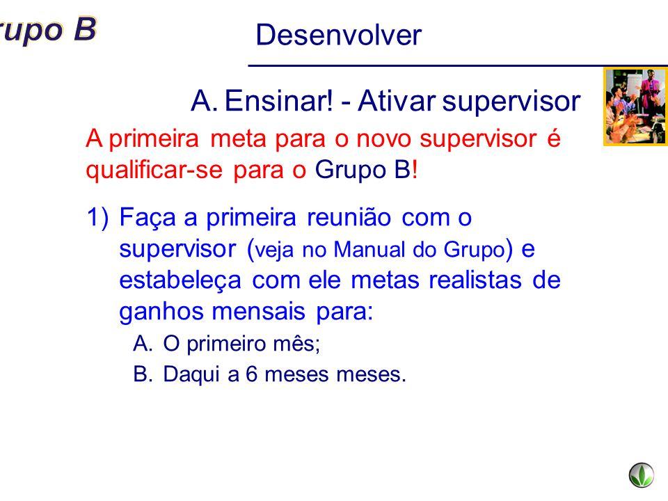 A.Ensinar! - Ativar supervisor 1)Faça a primeira reunião com o supervisor ( veja no Manual do Grupo ) e estabeleça com ele metas realistas de ganhos m