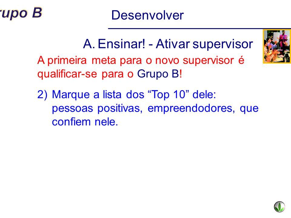 Desenvolver A.Ensinar! - Ativar supervisor 2)Marque a lista dos Top 10 dele: pessoas positivas, empreendodores, que confiem nele. A primeira meta para