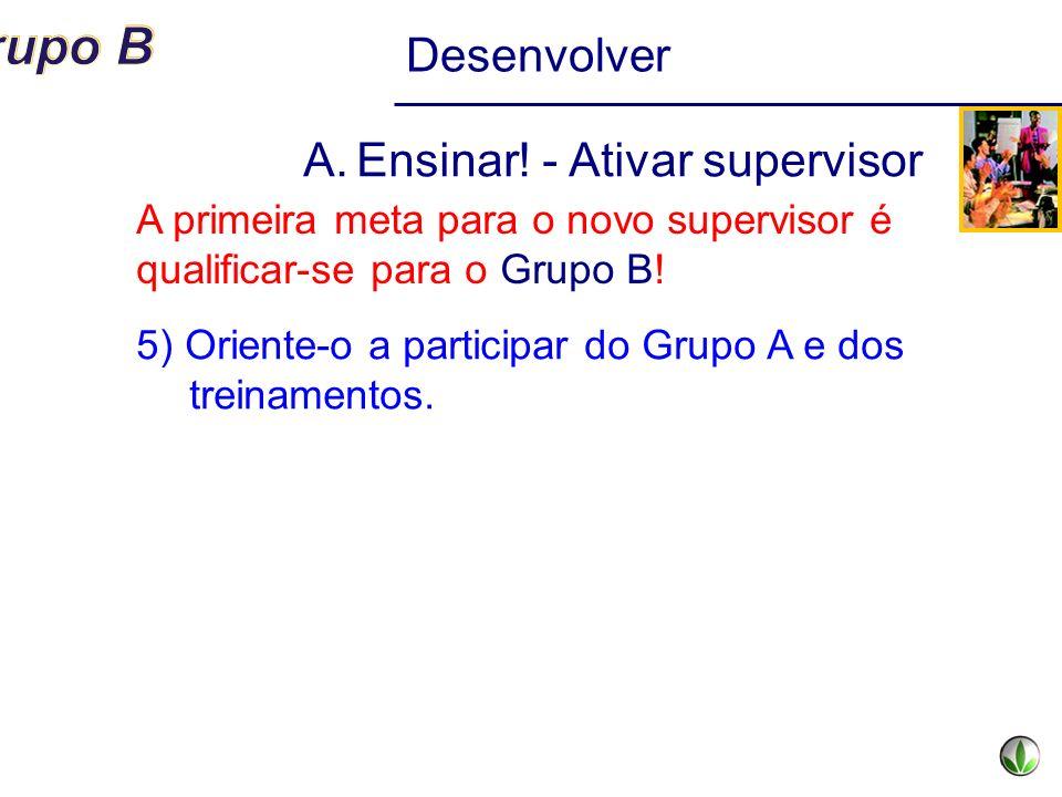 Desenvolver A.Ensinar! - Ativar supervisor 5) Oriente-o a participar do Grupo A e dos treinamentos. A primeira meta para o novo supervisor é qualifica