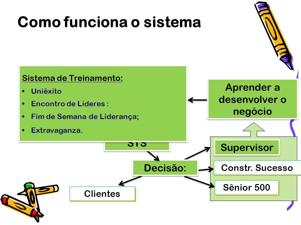 Informação Geração de contatos Como funciona o sistema Clientes Supervisor Sênior 500 Constr. Sucesso Decisão: STS Aprender a desenvolver o negócio Si