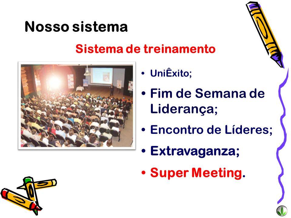 Sistema de treinamento UniÊxito; Fim de Semana de Liderança ; Encontro de Líderes; Extravaganza; Super Meeting. Nosso sistema