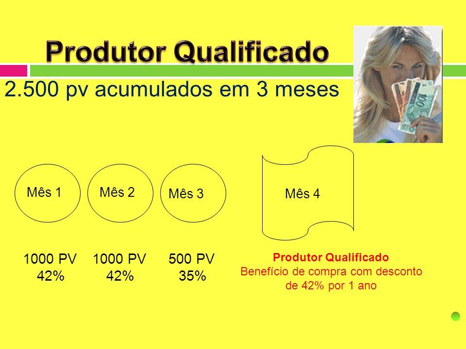 Mês 1Mês 2 Mês 3Mês 4 Produtor Qualificado Benefício de compra com desconto de 42% por 1 ano 1000 PV 42% 500 PV 35% 1000 PV 42% 2.500 pv acumulados em