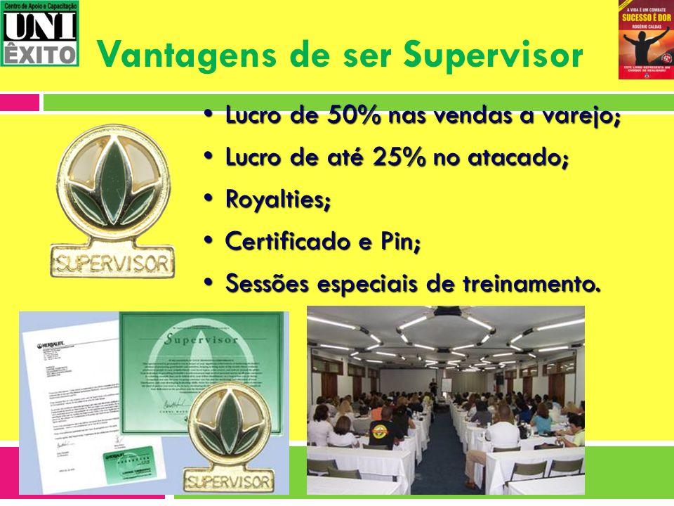 Vantagens de ser Supervisor Lucro de 50% nas vendas a varejo;Lucro de 50% nas vendas a varejo; Lucro de até 25% no atacado;Lucro de até 25% no atacado