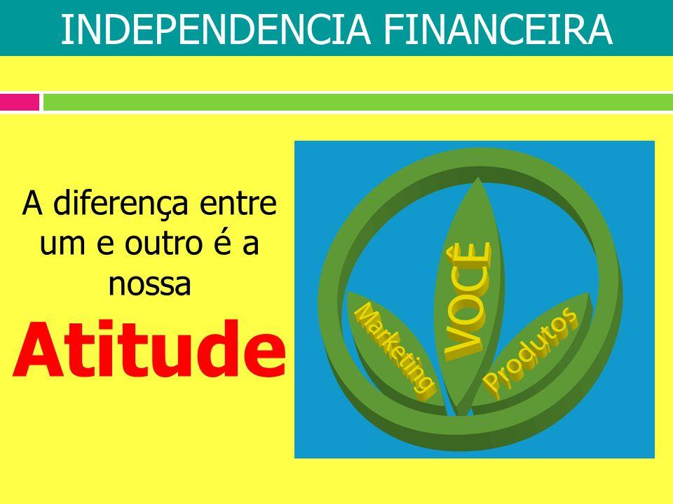 A diferença entre um e outro é a nossa Atitude INDEPENDENCIA FINANCEIRA