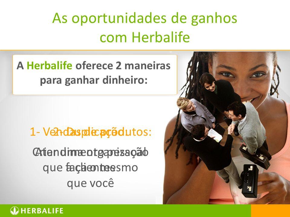 2 As oportunidades de ganhos com Herbalife 1- Vendas de produtos: Atendimento pessoal a clientes 2- Duplicação: Criar uma organização que faça o mesmo que você A Herbalife oferece 2 maneiras para ganhar dinheiro: