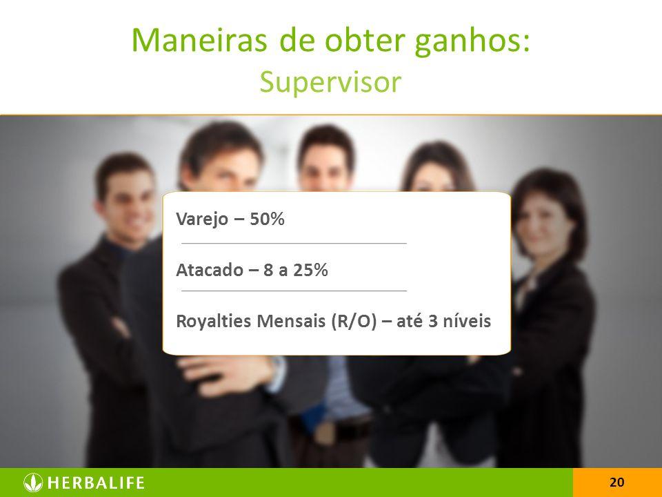 20 Varejo – 50% Atacado – 8 a 25% Royalties Mensais (R/O) – até 3 níveis Maneiras de obter ganhos: Supervisor