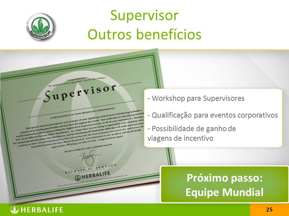 25 Supervisor Outros benefícios Próximo passo: Equipe Mundial - Workshop para Supervisores - Qualificação para eventos corporativos - Possibilidade de ganho de viagens de incentivo