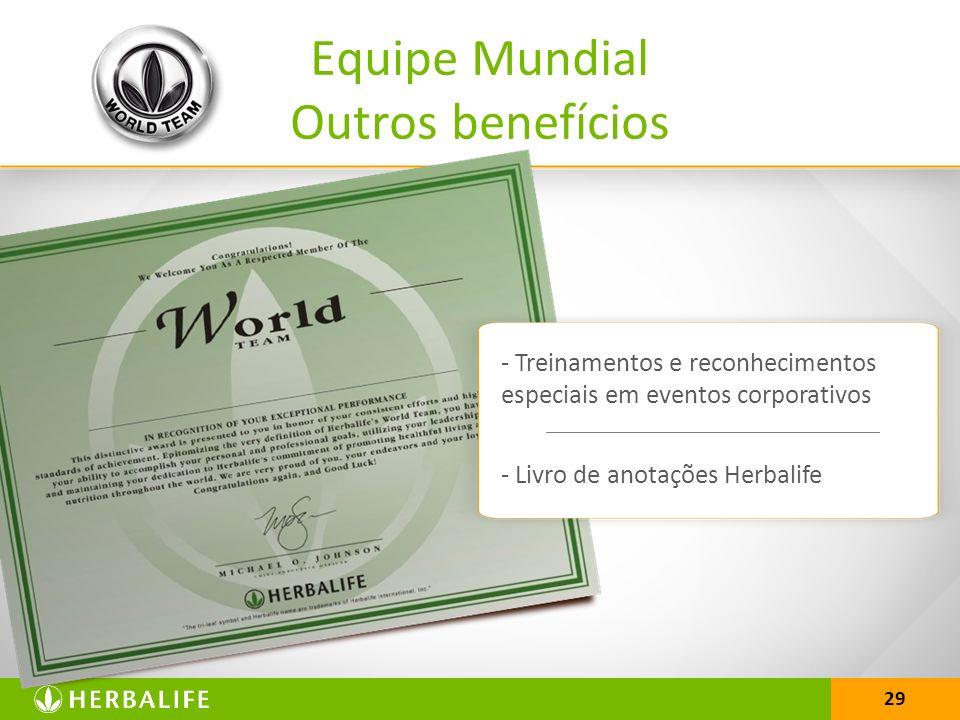 29 Equipe Mundial Outros benefícios - Treinamentos e reconhecimentos especiais em eventos corporativos - Livro de anotações Herbalife