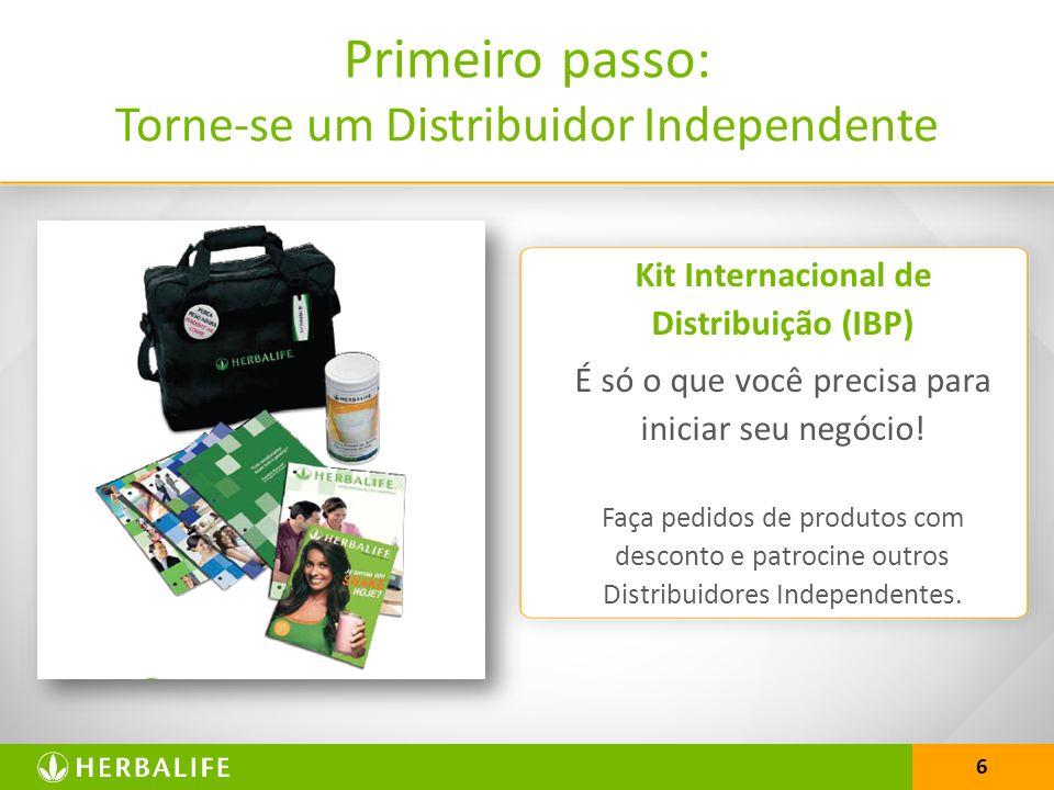 6 Primeiro passo: Torne-se um Distribuidor Independente Kit Internacional de Distribuição (IBP) É só o que você precisa para iniciar seu negócio.