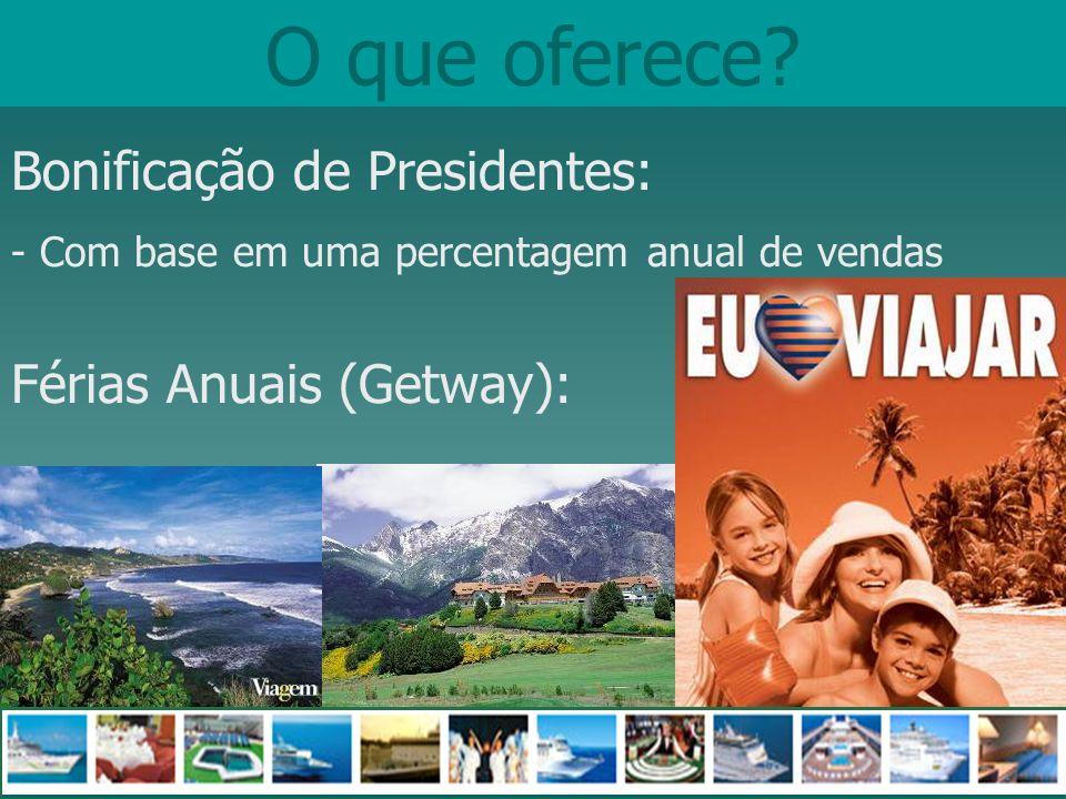 O que oferece? Bonificação de Presidentes: - Com base em uma percentagem anual de vendas Férias Anuais (Getway):