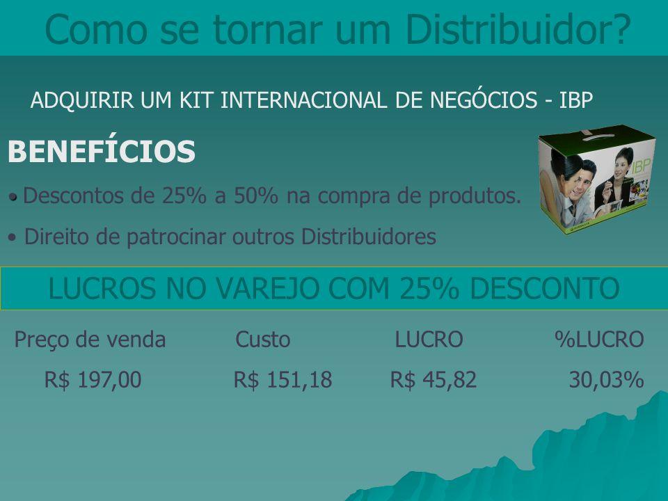 Como se tornar um Distribuidor? ADQUIRIR UM KIT INTERNACIONAL DE NEGÓCIOS - IBP BENEFÍCIOS Descontos de 25% a 50% na compra de produtos. Direito de pa