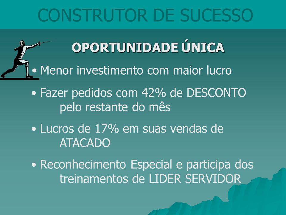 CONSTRUTOR DE SUCESSO OPORTUNIDADE ÚNICA OPORTUNIDADE ÚNICA Menor investimento com maior lucro Fazer pedidos com 42% de DESCONTO pelo restante do mês
