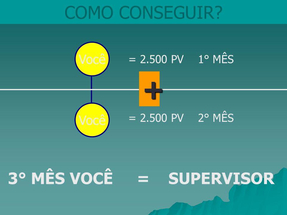 COMO CONSEGUIR? = 2.500 PV 1° MÊS 3° MÊS VOCÊ = SUPERVISOR + Você = 2.500 PV 2° MÊS