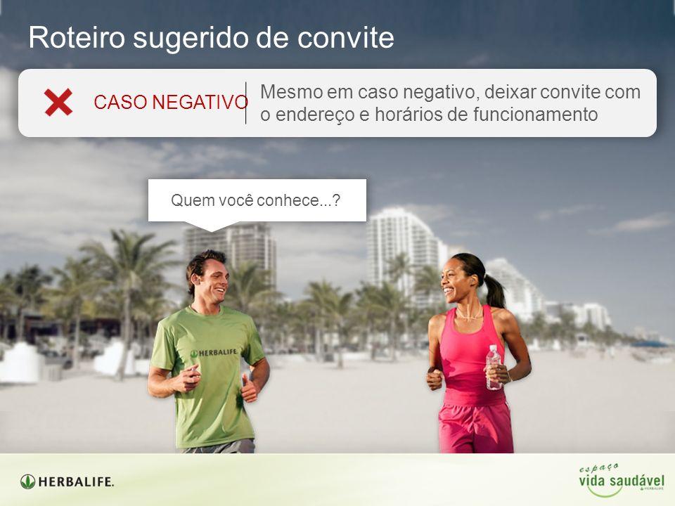 Mesmo em caso negativo, deixar convite com o endereço e horários de funcionamento CASO NEGATIVO Roteiro sugerido de convite Quem você conhece...?