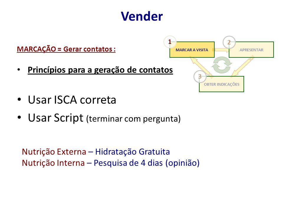 MARCAÇÃO = Gerar contatos : Princípios para a geração de contatos Usar ISCA correta Usar Script (terminar com pergunta) Vender Nutrição Externa – Hidr