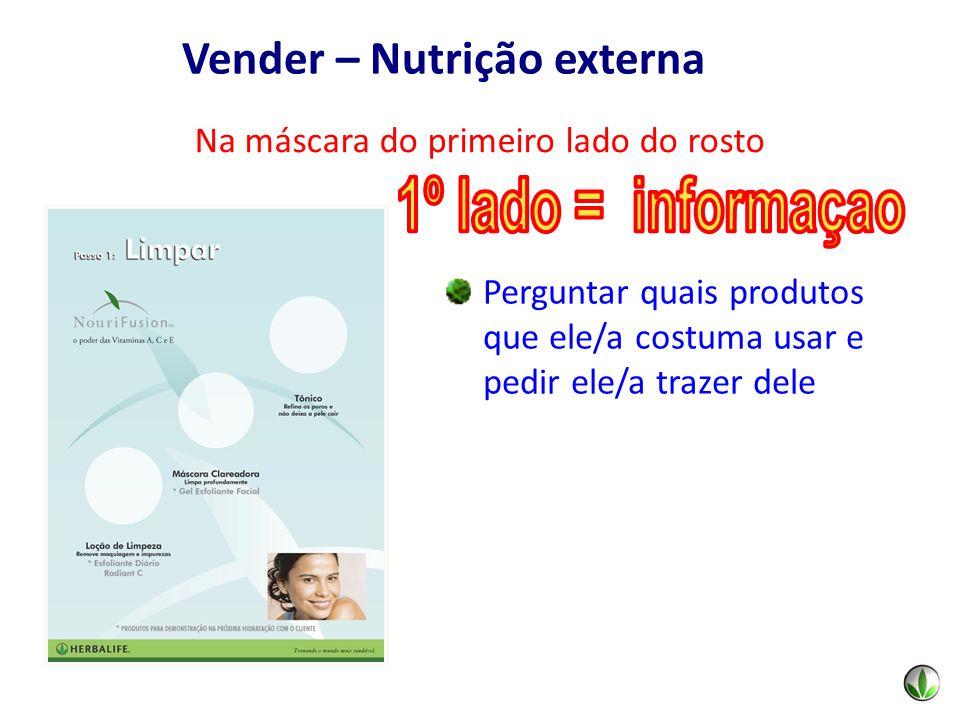 Perguntar quais produtos que ele/a costuma usar e pedir ele/a trazer dele Na máscara do primeiro lado do rosto Vender – Nutrição externa