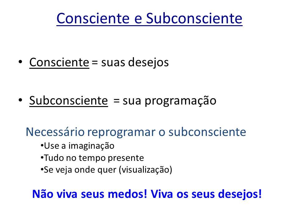 Consciente e Subconsciente Consciente = suas desejos Subconsciente = sua programação Necessário reprogramar o subconsciente Use a imaginação Tudo no t