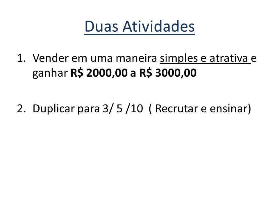 Duas Atividades 1.Vender em uma maneira simples e atrativa e ganhar R$ 2000,00 a R$ 3000,00 2.Duplicar para 3/ 5 /10 ( Recrutar e ensinar)