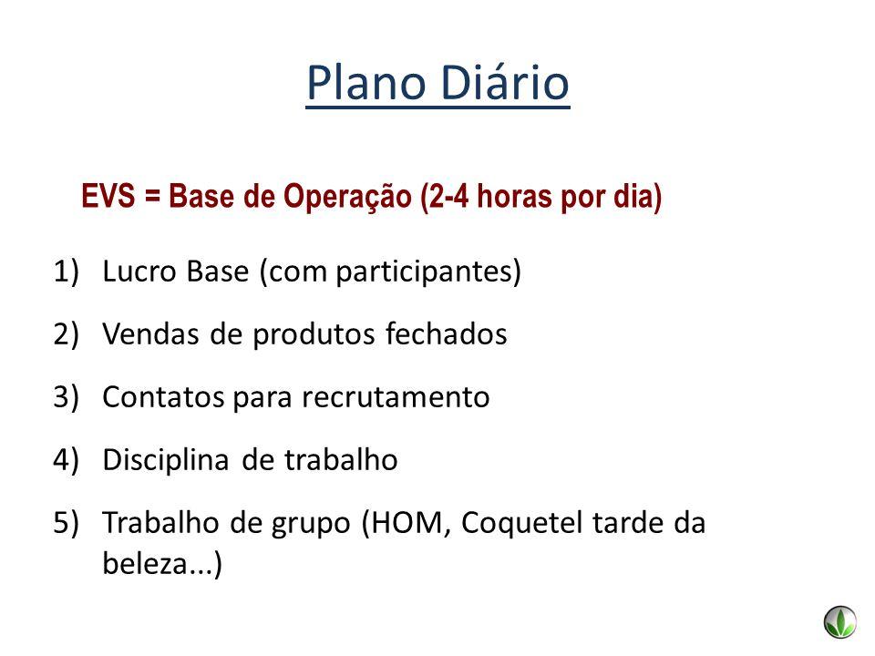 EVS = Base de Operação (2-4 horas por dia) Plano Diário 1)Lucro Base (com participantes) 2)Vendas de produtos fechados 3)Contatos para recrutamento 4)
