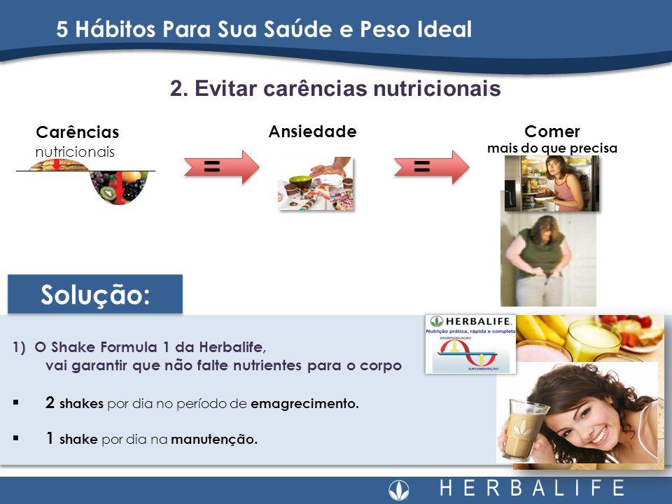 H E R B A L I F E 2. Evitar carências nutricionais 5 Hábitos Para Sua Saúde e Peso Ideal Carências nutricionais Comer mais do que precisa Ansiedade 1)