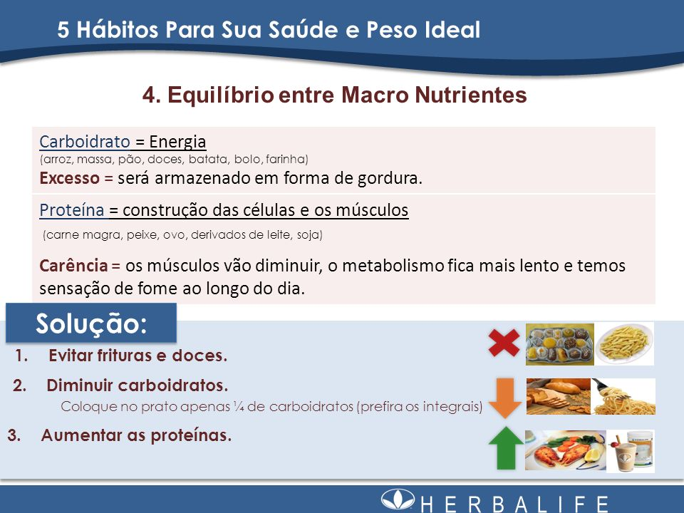 H E R B A L I F E 4. Equilíbrio entre Macro Nutrientes 1.Evitar frituras e doces. Proteína = construção das células e os músculos (carne magra, peixe,