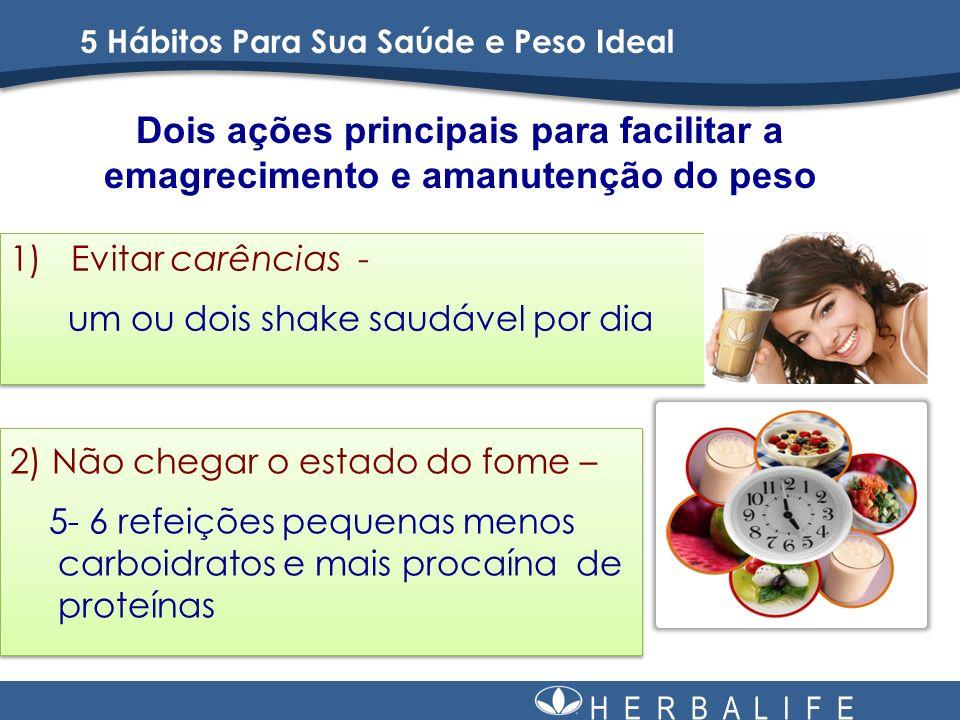 H E R B A L I F E Dois ações principais para facilitar a emagrecimento e amanutenção do peso 1) Evitar carências - um ou dois shake saudável por dia 1